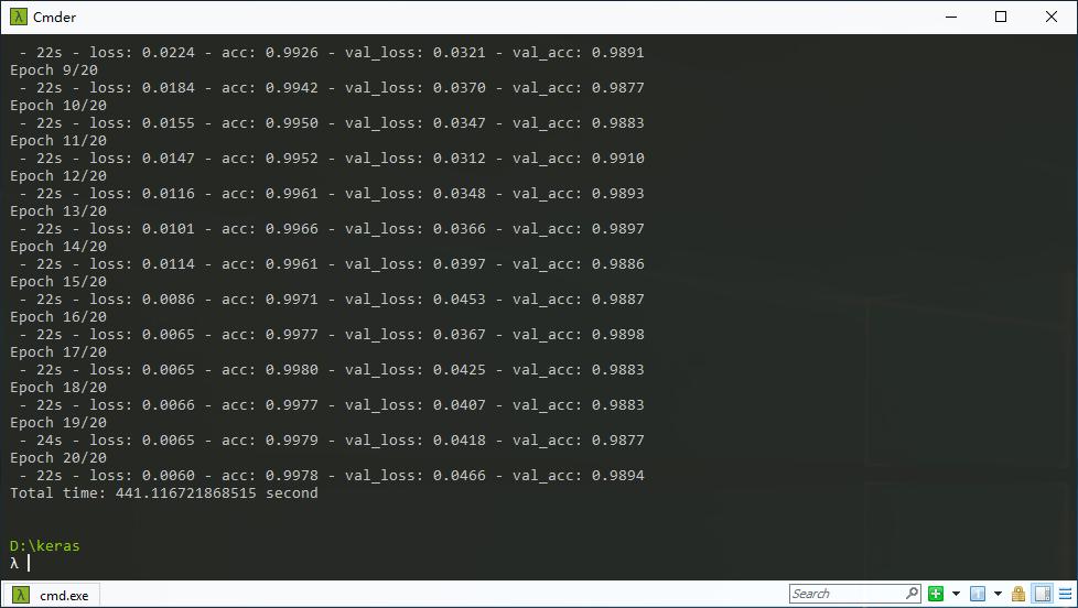 MNIST手写数字识别测试结果,CPU版
