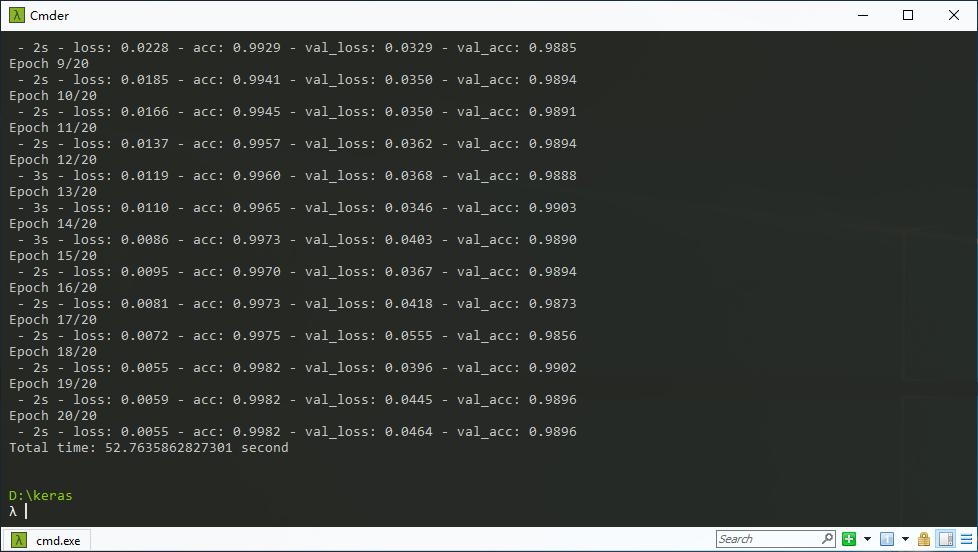MNIST手写数字识别测试结果,GPU版